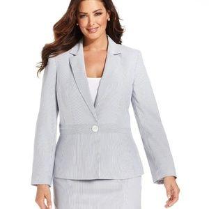 PLUS 24W blue & white striped seersucker blazer